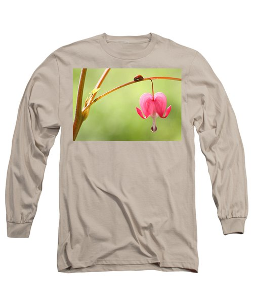 Ladybug And Bleeding Heart Flower Long Sleeve T-Shirt by Peggy Collins