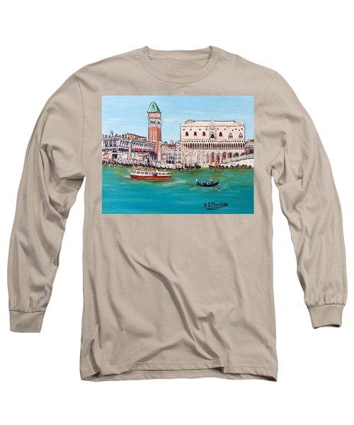 Long Sleeve T-Shirt featuring the painting Laguna by Loredana Messina