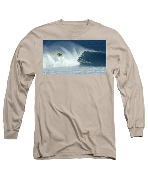 Laird Hamilton Going Left At Jaws Long Sleeve T-Shirt by Bob Christopher