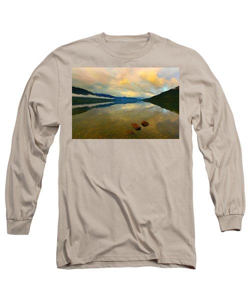 Lake Kaniere New Zealand Long Sleeve T-Shirt by Amanda Stadther