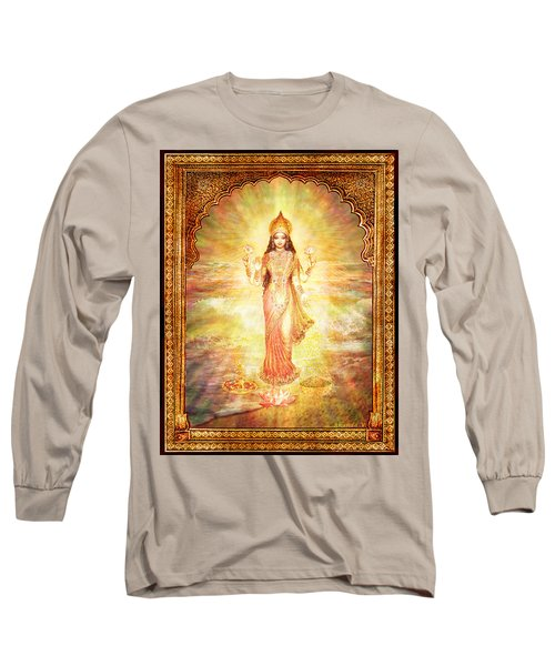Lakshmi The Goddess Of Fortune And Abundance Long Sleeve T-Shirt by Ananda Vdovic