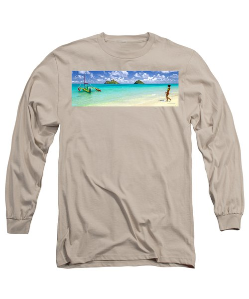 Long Sleeve T-Shirt featuring the photograph Lanikai Beach Paradise 3 To 1 Aspect Ratio by Aloha Art