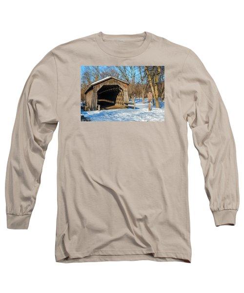 Last Covered Bridge Long Sleeve T-Shirt by Susan  McMenamin