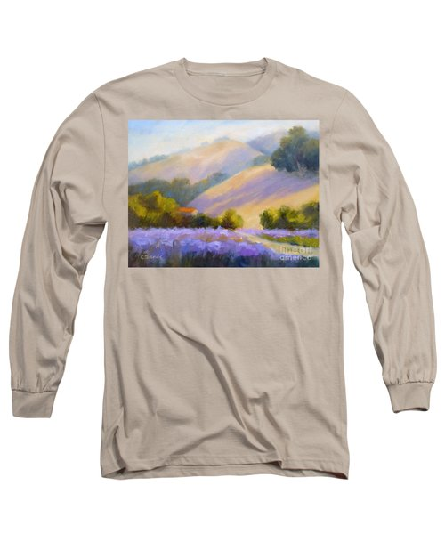 Late June Hills And Lavender Long Sleeve T-Shirt