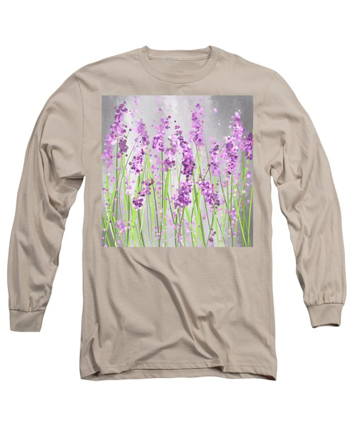 Lavender Blossoms - Lavender Field Painting Long Sleeve T-Shirt