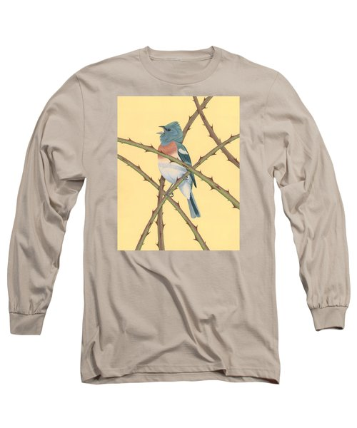 Lazuli Bunting Long Sleeve T-Shirt by Nathan Marcy