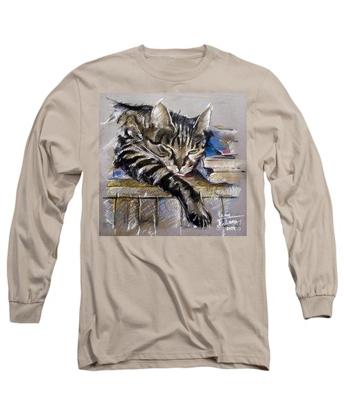 Lazy Cat Portrait - Drawing Long Sleeve T-Shirt
