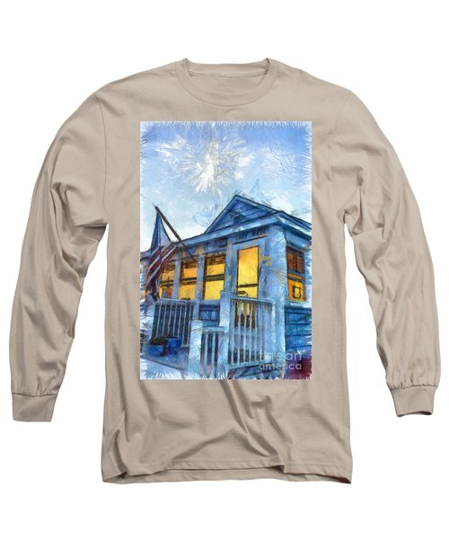 Lazy Daze Beach Cottage Pencil Sketch Long Sleeve T-Shirt