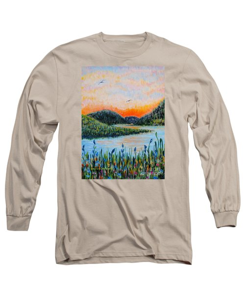 Long Sleeve T-Shirt featuring the painting Lazy River by Holly Carmichael