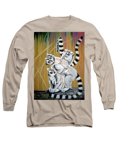 Long Sleeve T-Shirt featuring the painting Leapin Lemurs by Phyllis Kaltenbach
