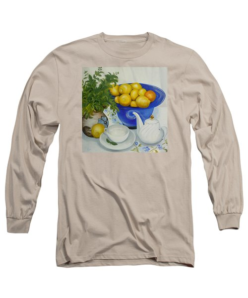 Long Sleeve T-Shirt featuring the painting Lemon Tea by Helen Syron
