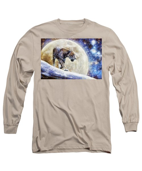 Long Sleeve T-Shirt featuring the painting Leopard Moon by Greg Collins