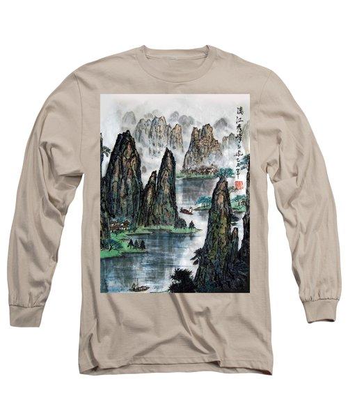 Long Sleeve T-Shirt featuring the photograph Li River by Yufeng Wang