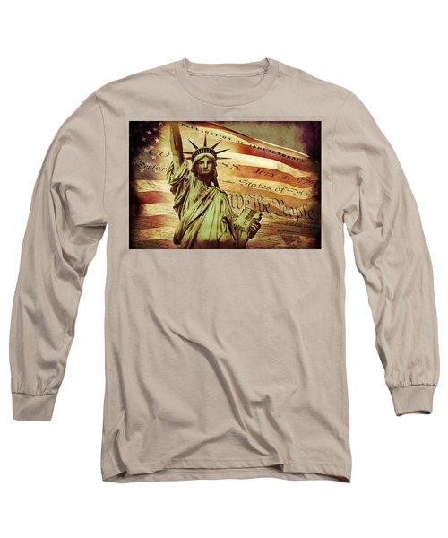 Declaration Of Independence Long Sleeve T-Shirt by Az Jackson