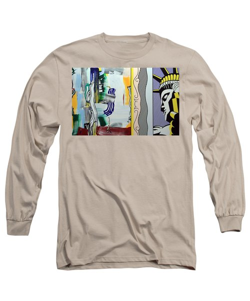 Lichtenstein's Painting With Statue Of Liberty Long Sleeve T-Shirt by Cora Wandel