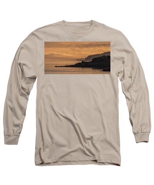 Long Sleeve T-Shirt featuring the photograph Lifting Fog At Sunrise On Campobello Coastline by Marty Saccone