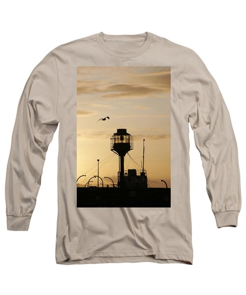 Light Ship Silhouette At Sunset Long Sleeve T-Shirt