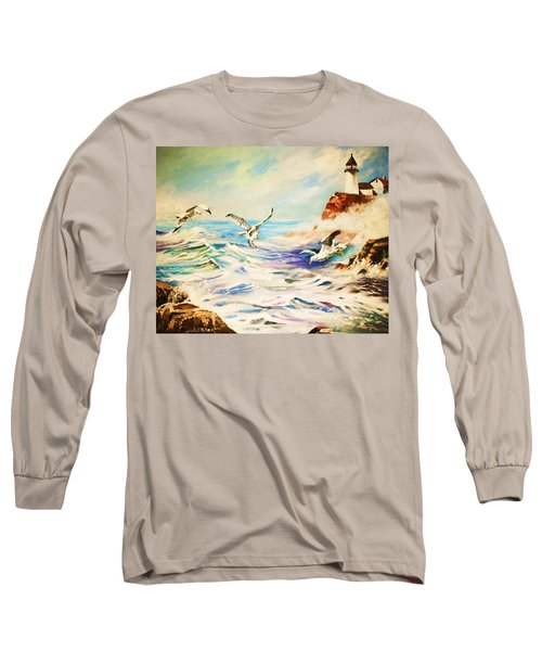 Lighthouse Gulls And Waves Long Sleeve T-Shirt by Al Brown