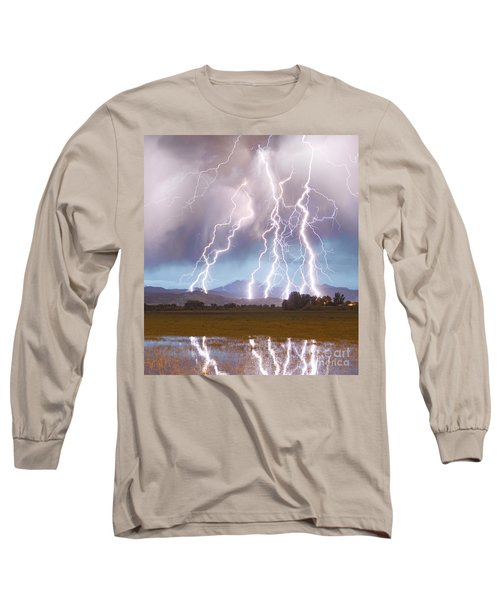 Lightning Striking Longs Peak Foothills 4c Long Sleeve T-Shirt