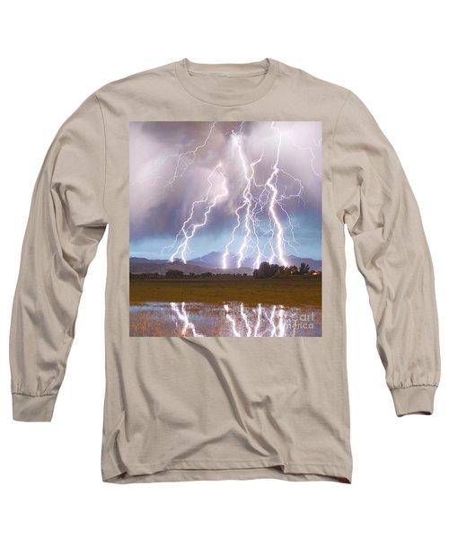 Lightning Striking Longs Peak Foothills 4c Long Sleeve T-Shirt