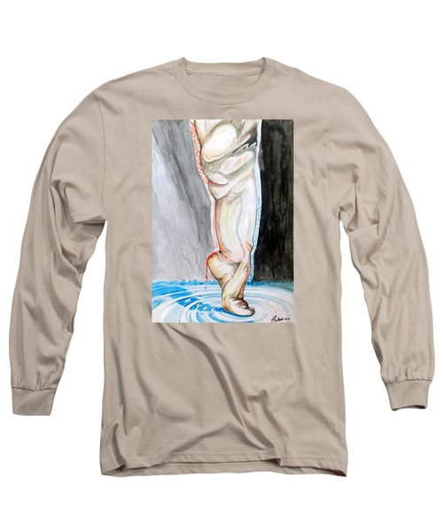 Long Sleeve T-Shirt featuring the painting Lightweight Of The Being Listen With Music Of The Description Box by Lazaro Hurtado