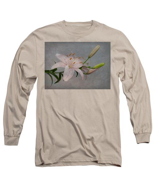 Pink Lily With Texture Long Sleeve T-Shirt by Patti Deters