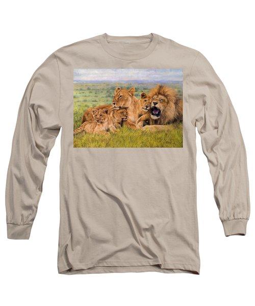Lion Family Long Sleeve T-Shirt by David Stribbling