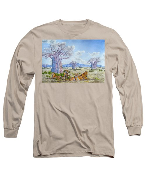 Lions By The Baobab Long Sleeve T-Shirt