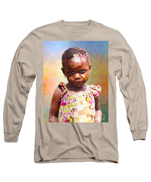 Long Sleeve T-Shirt featuring the digital art Little Cute Girl by Anthony Mwangi