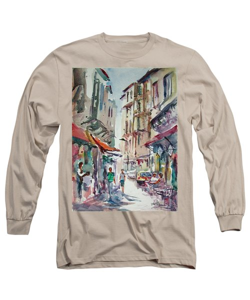 Long Sleeve T-Shirt featuring the painting Little Trip At Exotic Streets In Istanbul by Faruk Koksal