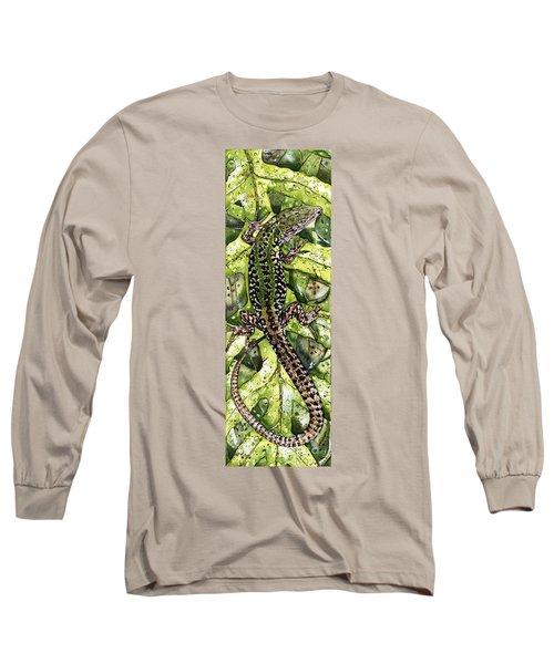 Long Sleeve T-Shirt featuring the painting Lizard In Green Nature - Elena Yakubovich by Elena Yakubovich