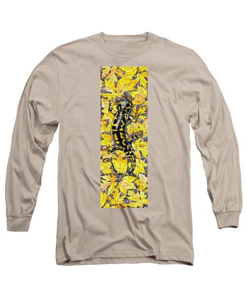 Long Sleeve T-Shirt featuring the painting Lizard In Yellow Nature - Elena Yakubovich by Elena Yakubovich