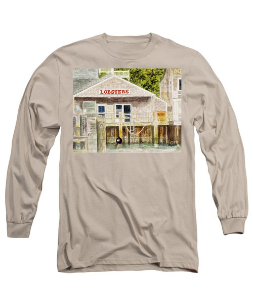 Long Sleeve T-Shirt featuring the painting Lobster Shack by Carol Flagg