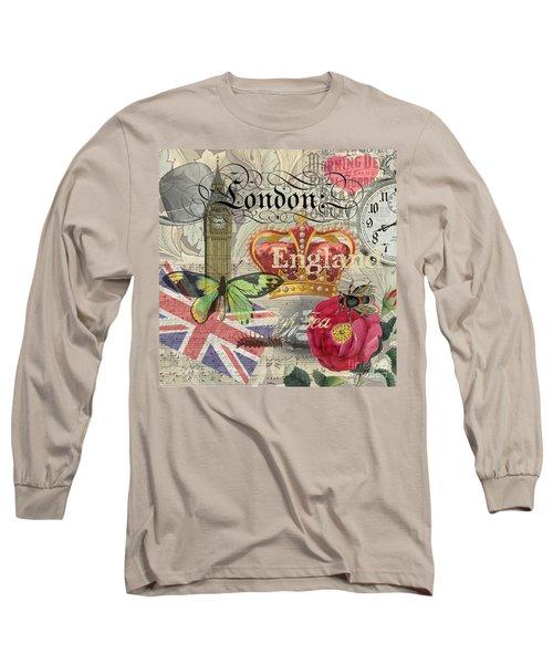 London England Vintage Travel Collage  Long Sleeve T-Shirt