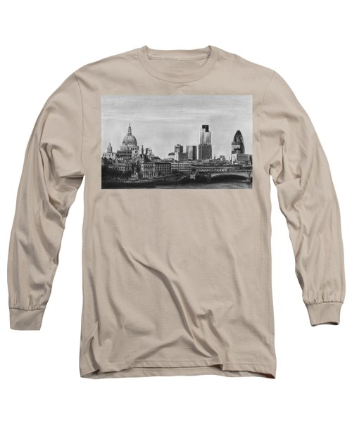 London Skyline Pencil Drawing Long Sleeve T-Shirt