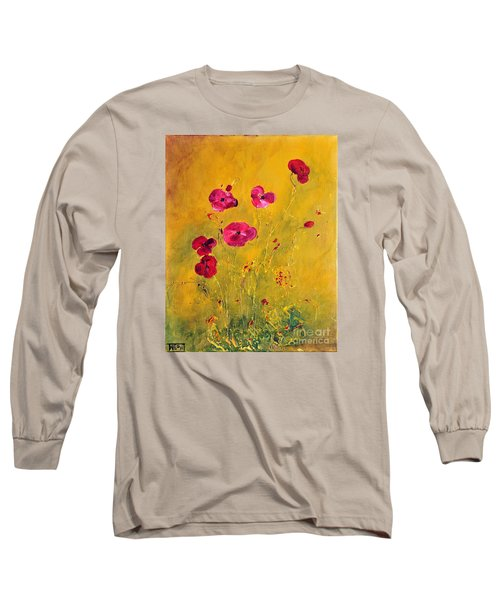 Long Sleeve T-Shirt featuring the painting Lonely Poppies by Teresa Wegrzyn