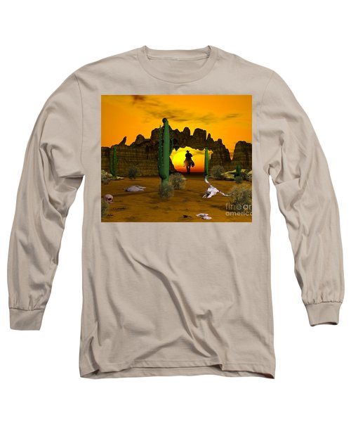 Long Sleeve T-Shirt featuring the digital art Lonesome Dove by Jacqueline Lloyd