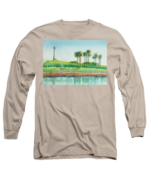 Long Beach Lighthouse Long Sleeve T-Shirt by Debbie Lewis