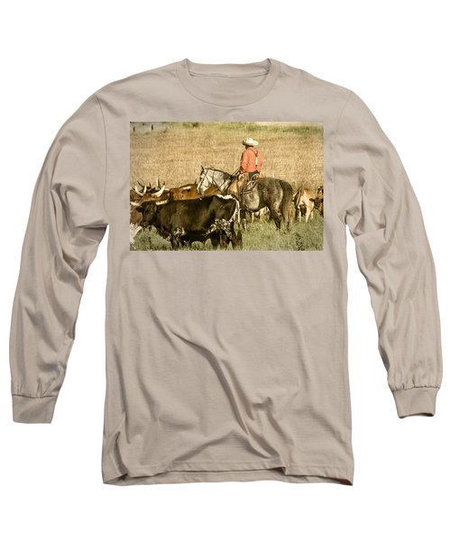 Long Sleeve T-Shirt featuring the photograph Longhorn Round Up by Steven Bateson