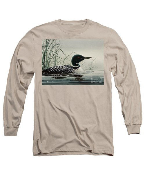 Loon Near The Shore Long Sleeve T-Shirt by James Williamson