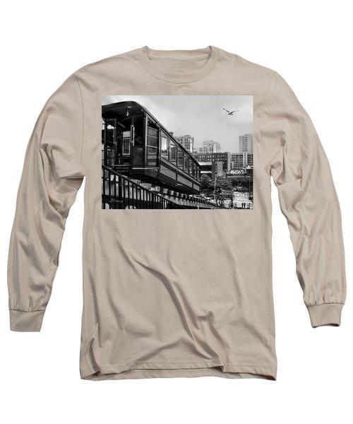 Los Angeles Angels Flight.bw Long Sleeve T-Shirt by Jennie Breeze