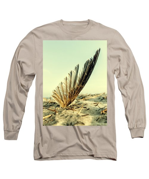 Lost Feather At The Beach Long Sleeve T-Shirt by Mike Santis