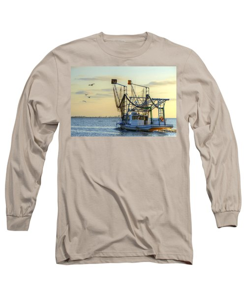 Louisiana Shrimping Long Sleeve T-Shirt by Charlotte Schafer