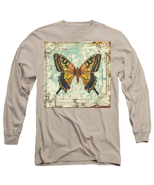 Lovely Yellow Butterfly On Tin Tile Long Sleeve T-Shirt by Jean Plout