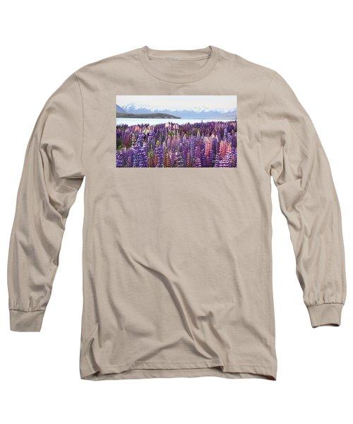 Lupins At Tekapo Long Sleeve T-Shirt by Nareeta Martin