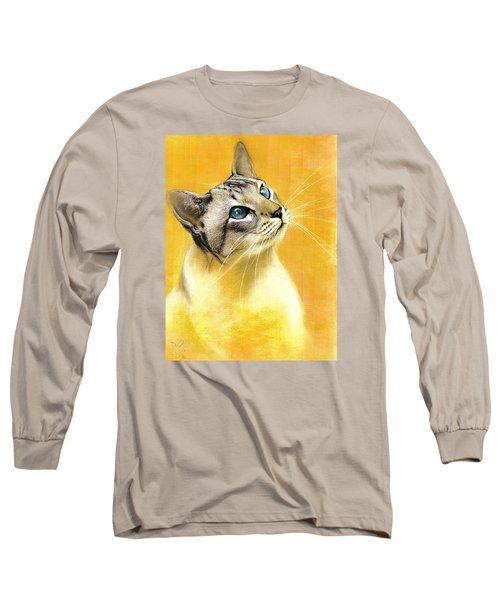 Long Sleeve T-Shirt featuring the drawing Lynx Point Siamese by VLee Watson