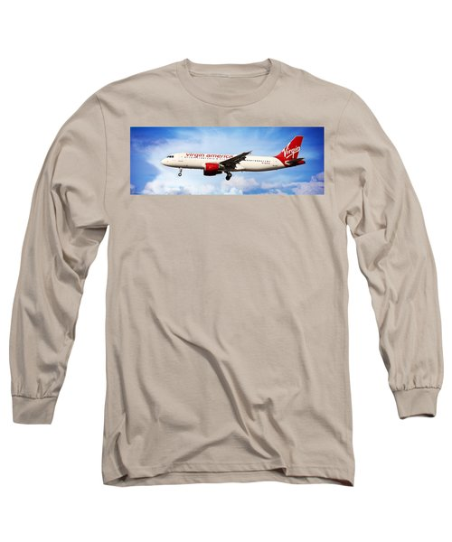 Airplane Long Sleeve T-Shirt featuring the photograph Virgin America Mach Daddy - Rare by Aaron Berg