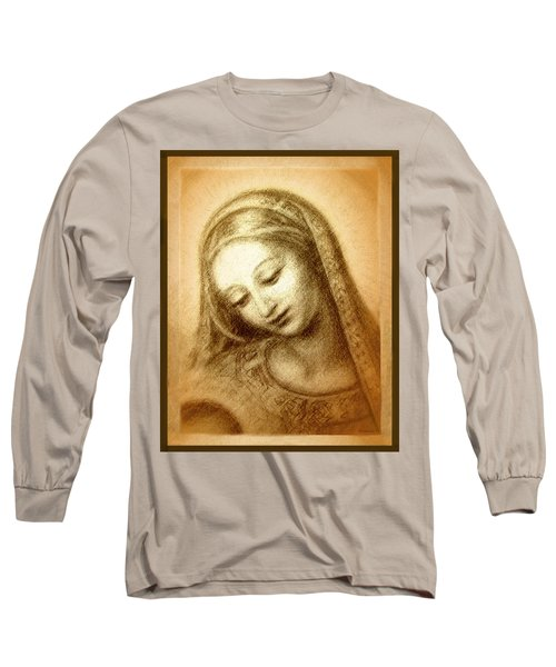 Madonna With The Dove Face Long Sleeve T-Shirt by Ananda Vdovic