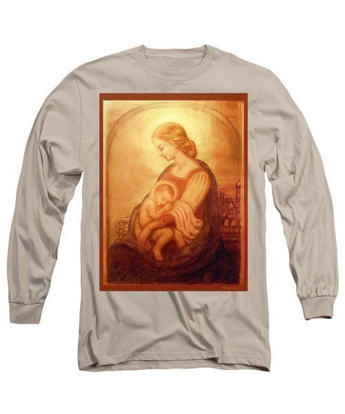 Long Sleeve T-Shirt featuring the mixed media Madonna With The Sleeping Child by Ananda Vdovic