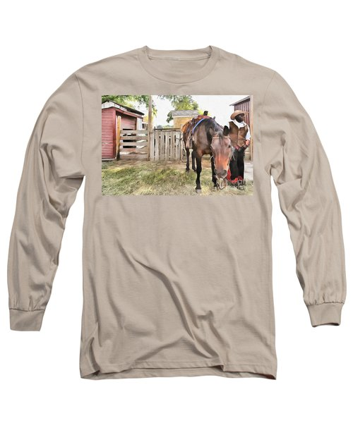 Mahaffie Stagecoach Stop And Farm Long Sleeve T-Shirt by Liane Wright